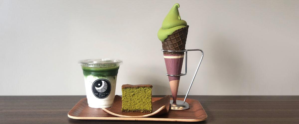 工場併設のカフェスタンドでは、石臼挽きの抹茶を使ったドリンクやスイーツを提供しています。